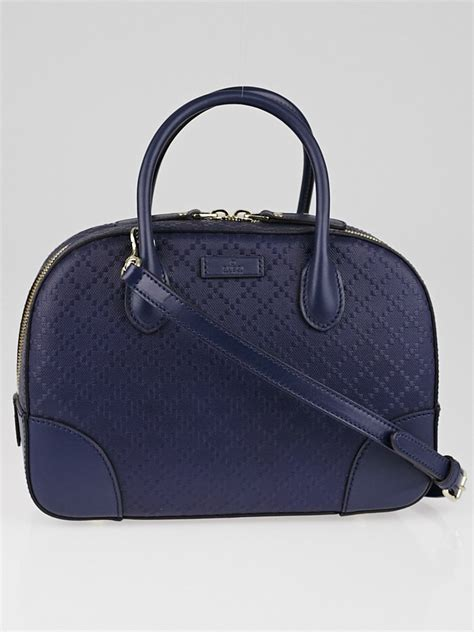 Bright Totes By Zagliani At Matches by Gucci Blue Bright Diamante Textured Leather Top Handle Bag