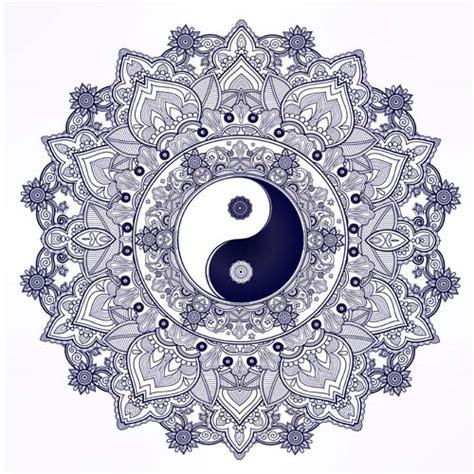 pattern mandala vector yin and yang with mandala patterns vector 02 vector