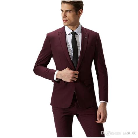 wine groom suit s formal fashion sale one button suits slim fit s wedding suits