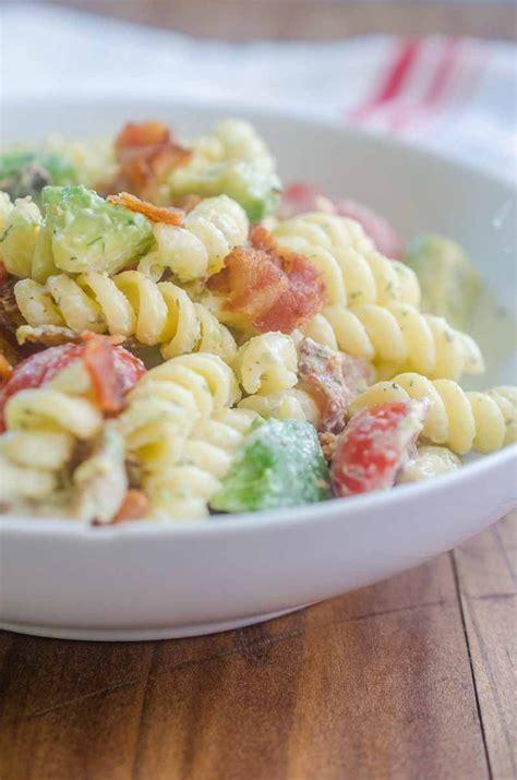 recipe for creamy bacon tomato and avocado pasta salad creamy bacon and avocado pasta