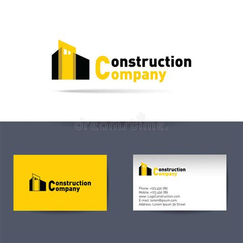 Business Card Construction Templates Free For Illustrator by Construction Company Business Card Template Stock Vector
