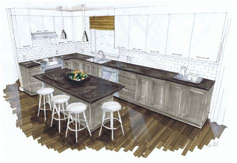 Kitchen Design Sketch West Coast Kitchen Morelan Design And Rendering For Design Students Pinterest
