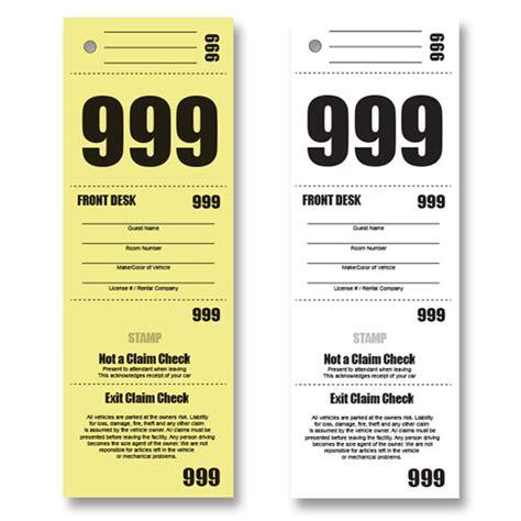 printable valet tickets buy hotel valet tickets