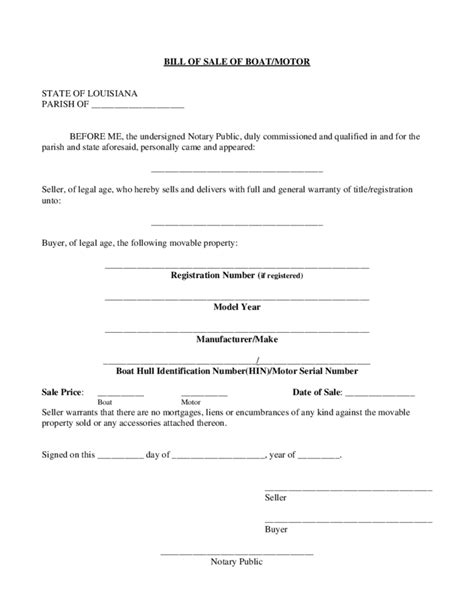 Boat Bill Of Sale Form Louisiana Free Download Bill Of Sale Louisiana Template