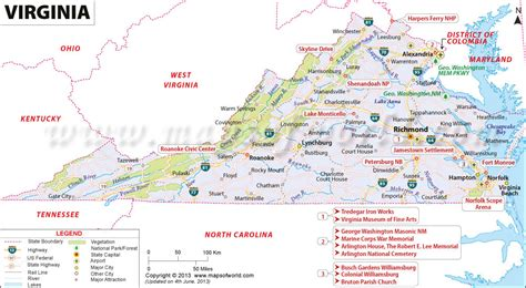 virginia on a map of the usa map of virginia virginia map map of va