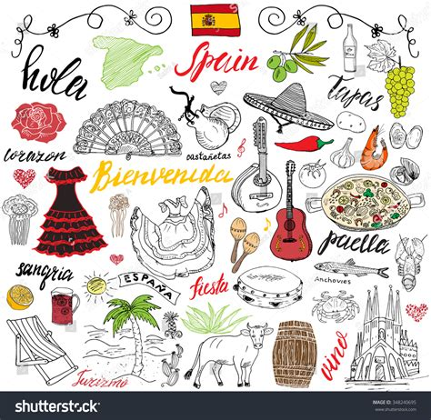 doodle espaã ol spain doodles elements set stock vector