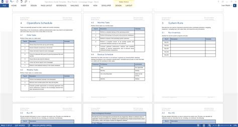 Operations Guide Ms Word Template Operational Plan Template