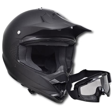 motocross helmet visor vidaxl co uk motocross helmet black s no visor with goggles