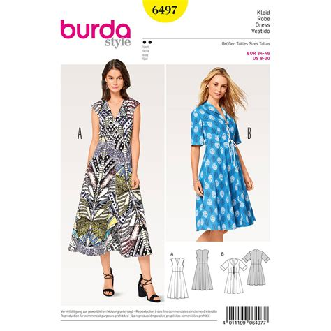 pattern dress burda misses v neck dress burda sewing pattern 6497 sew essential
