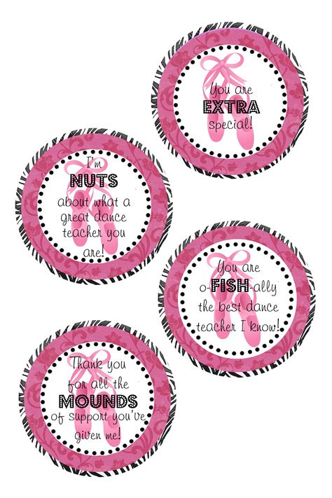 printable dance tags dance teacher appreciation gift free downloadable tags