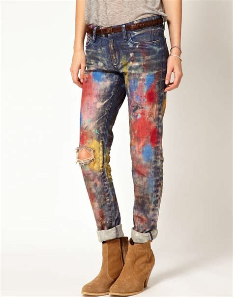 8 Pairs Of Colored Denim For by Paint Splatter By Denim Supply I Might Diy A