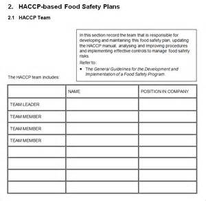 haccp plan template haccp plan template 6 free word pdf documents