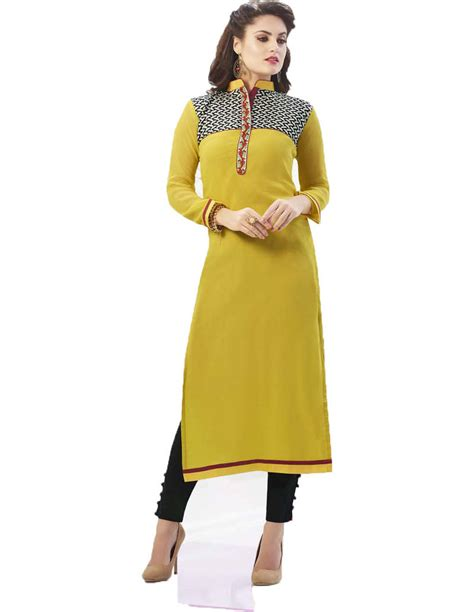yellow kurti pattern buy yellow embroidered georgette straight long kurti online