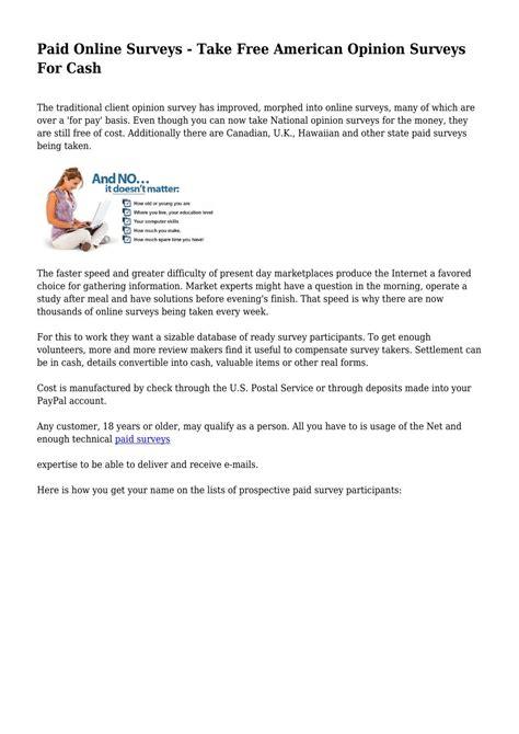 Opinion Surveys For Cash - paid online surveys take free american opinion surveys for cash by internetmoney73