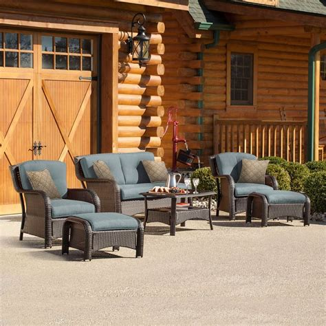 shop hanover outdoor furniture strathmere  piece wicker patio conversation set  blue