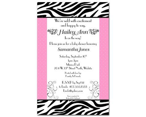 printable zebra print baby shower invitations free printable zebra baby shower invitations www