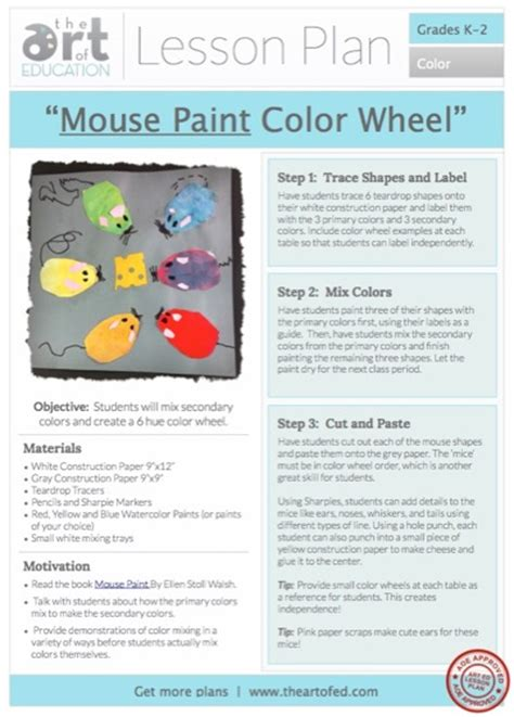 quot mouse paint quot color wheel free lesson plan the of ed