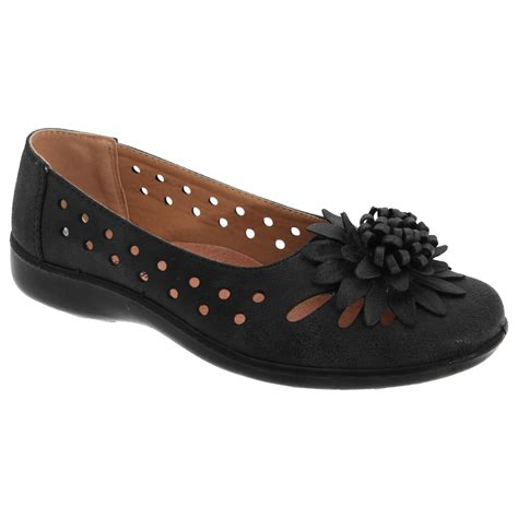 casual flats shoes boulevard womens punched floral flower summer