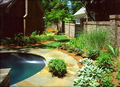 landscaping around the pool exteriors