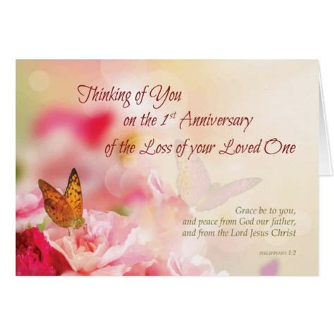 first 1st anniversary of loss of loved one death card