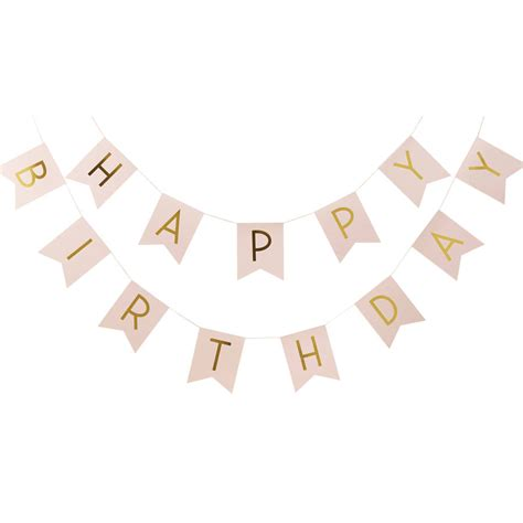 Balloonable Bunting Flag Happy Birthday Pastel pastel pink and gold foiled happy birthday bunting by notonthehighstreet