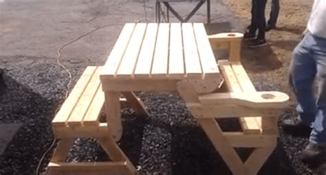 plans for picnic table bench combo this folding picnic table is the next great thing for that