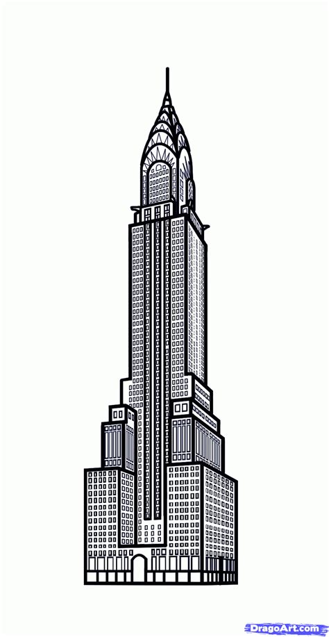 Chrysler Building Drawing by Draw The Chrysler Building Chrysler Building Step By