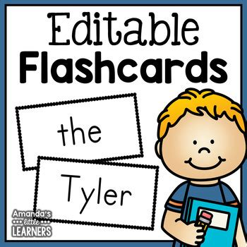 free editable flash card template editable flashcards template by amanda s learners tpt