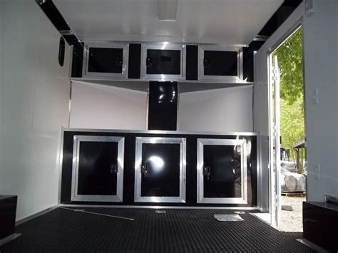 v nose cargo trailer cabinets base and overhead cabinets inside enclosed trailer 8 5 x