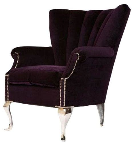 Used Armchairs Pre Owned Purple Channel Back Wing Chair Transitional