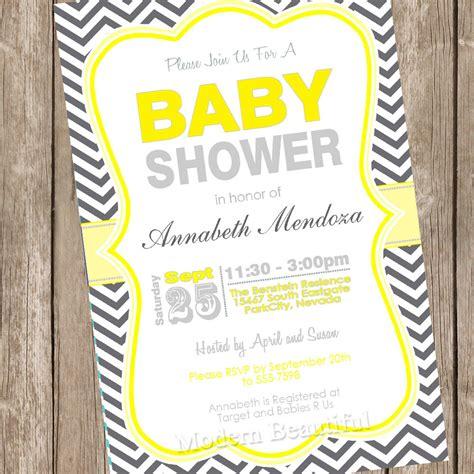 neutral baby shower invitation yellow and grey chevron