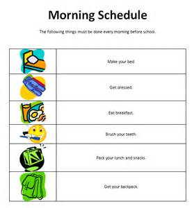 visual schedule template autism and visual schedules templates