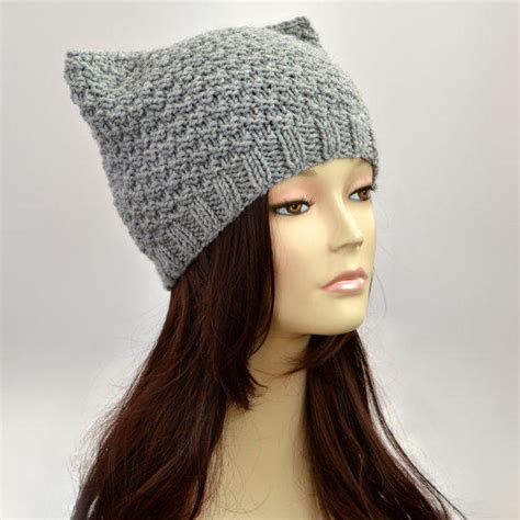 cat ear knit hat pattern grey cat hat knit cat ear hat or cat from slouchybeanie