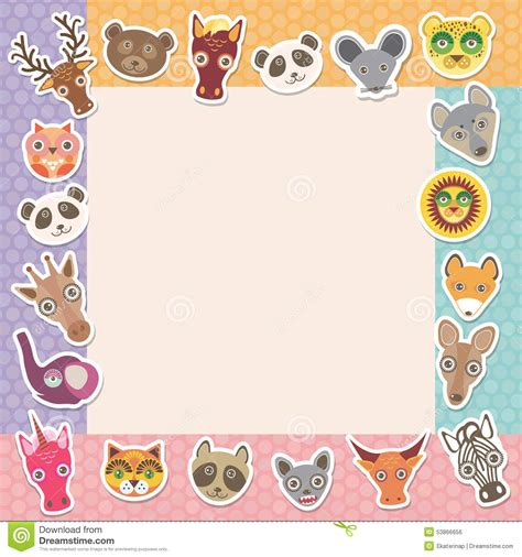 set of funny animals muzzle square frame template card