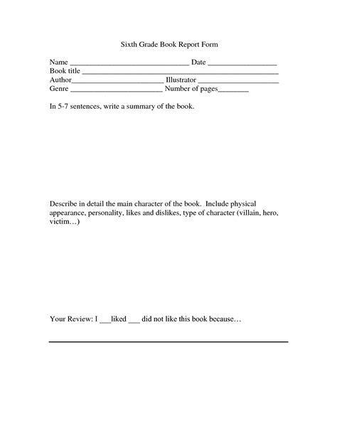 6th grade book report template 13 best photos of 1st grade writing paper template