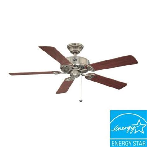 ceiling fans hton bay farmington 52 in brushed nickel