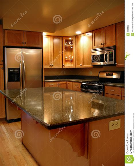 Upscale kitchen vertical stock image. Image of counter