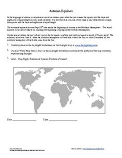 Solstice And Equinox Worksheet by Solstice And Equinox Hours Of Daylight And Seasons