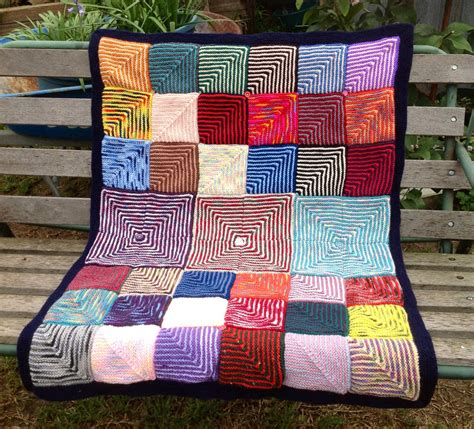 Handmade Knitted Blankets - handmade knitted geometric blocks baby blanket