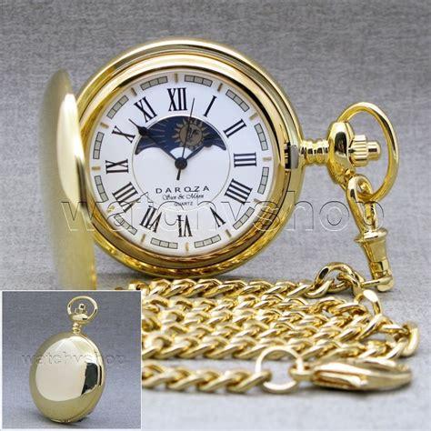 gold brass sun moon quartz mens pocket with