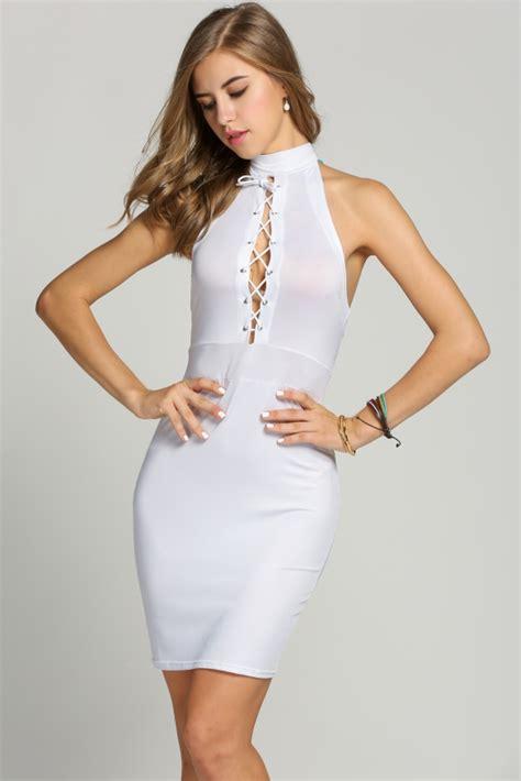 Lace Up Midi Bodycon Dress white lace up midi bodycon dress featuring halter neckline
