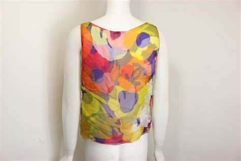 Blouse Chanel Flowers chanel multi coloured camellia flower silk sleeves blouse