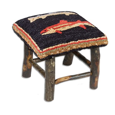 Fish Stools by River Fish Hooked Wool Hickory Stool