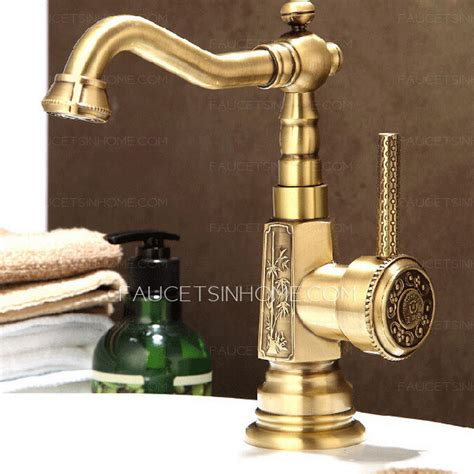 antique brass carving deck mounted bathroom sink faucet