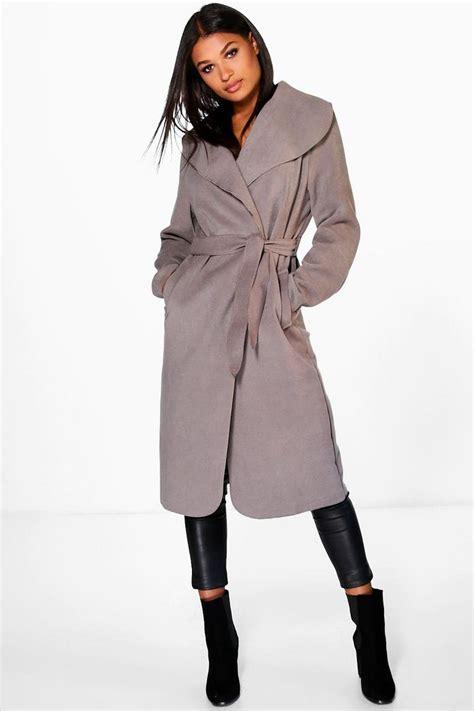 Shawl Collar Coat kate belted shawl collar coat boohoo