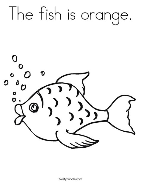 The Fish Is Orange Coloring Page Twisty Noodle F Is For Fish Coloring Page 2