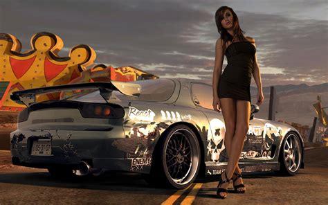 wallpaper girl with car beautiful car racing game girl hd wallpaper