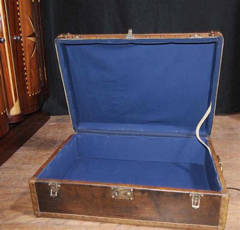 leather luggage trunk coffee table box interior