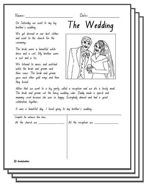 Wedding Box Reading by The Wedding Reading Response Activity Sheets