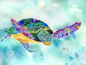 colorful turtles about